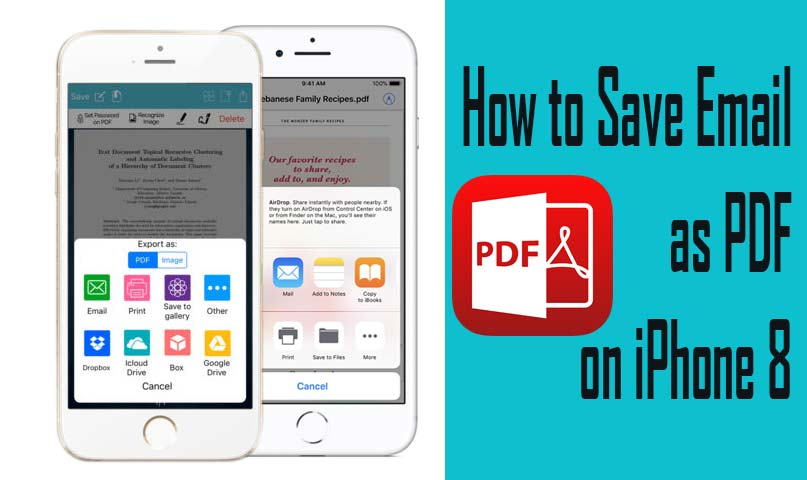 save email as pdf on iphone 8